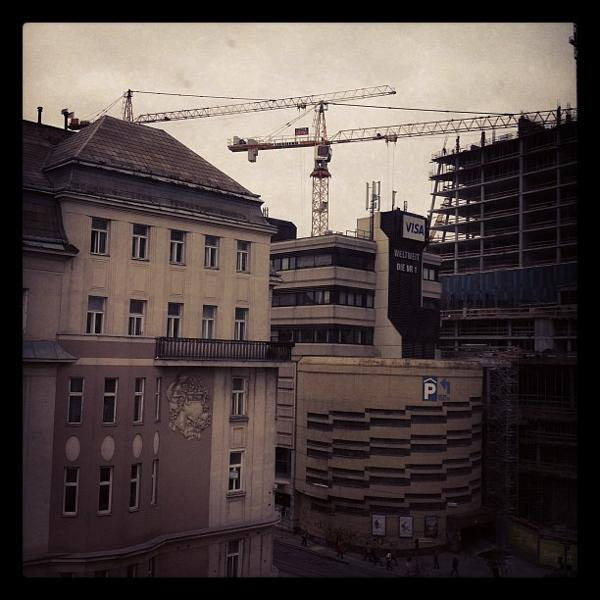 view on wien mitte construction site